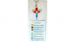 Salvation Key Rings / Zipper Pulls, CROSS w/ Laminated Message Cards