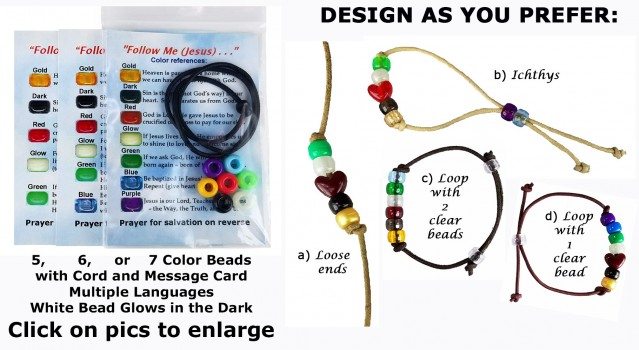 Salvation Bracelet Craft Kits with Gospel Message Cards