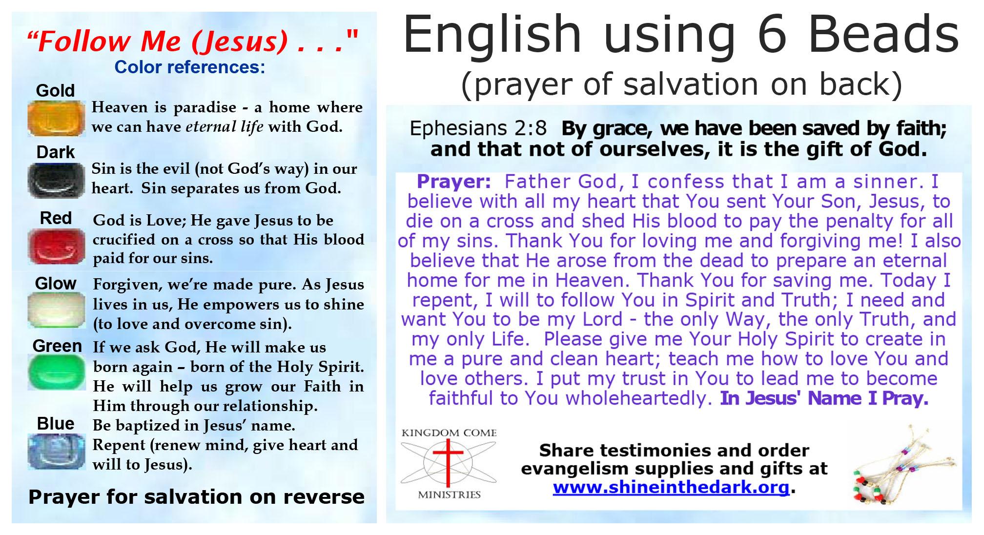 Glossy Salvation Bracelet Gospel Message Cards Multiple